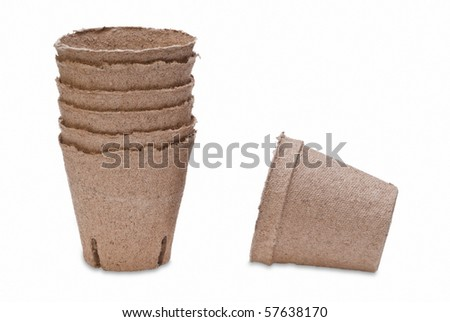 Brown Peat Pots - stock photo