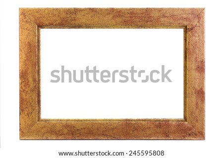 Brown picture frame in landscape format - isolated on white - stock photo