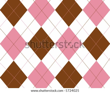 Brown, pink and white argyle