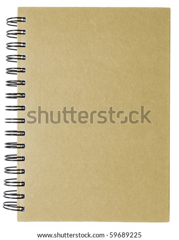 Brown plain closed notebook isolated on white