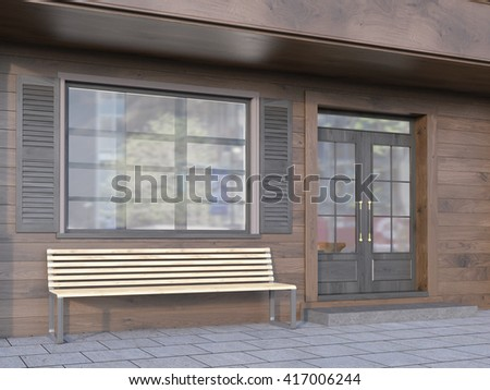 Brown plank cafe exterior with a bench. 3D Rendering - stock photo