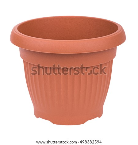 Brown plastic flowerpot plant pot