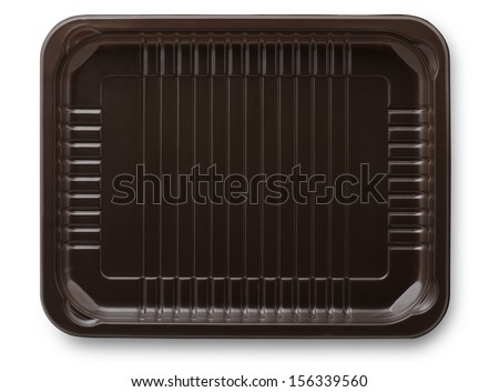 Brown plastic  packing food tray isolated on white - stock photo