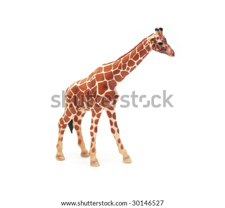 Brown Plastic Toy Giraffe on White Background - stock photo