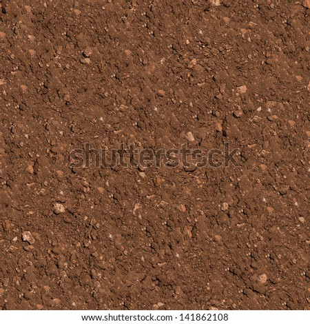 Brown Plowed Soil. Seamless Tileable Texture. . - stock photo