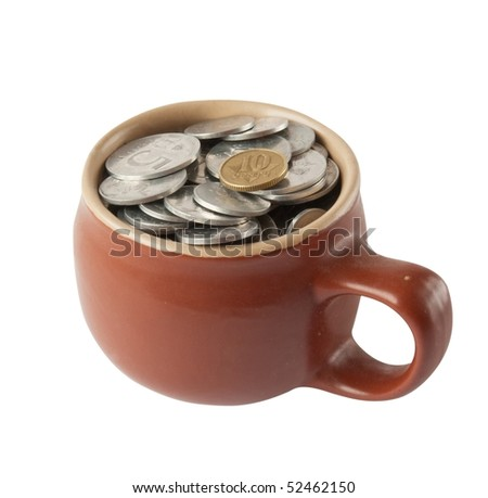 brown Pot with Coins on White with path