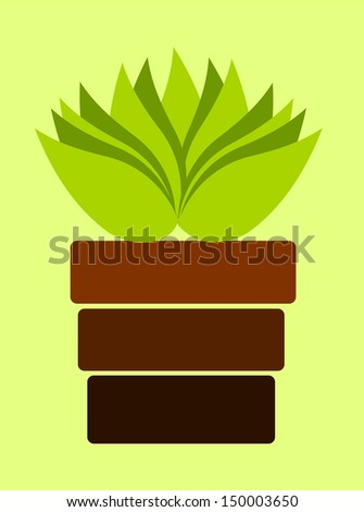 Brown pot with plant on light green background - stock photo