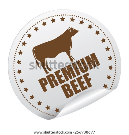 Brown Premium Beef Sticker, Icon or Label Isolated on White Background