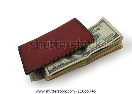 brown purse and dollars isolated on white