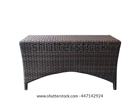 Charming Brown Rattan Coffee Table Isolate On White Background.