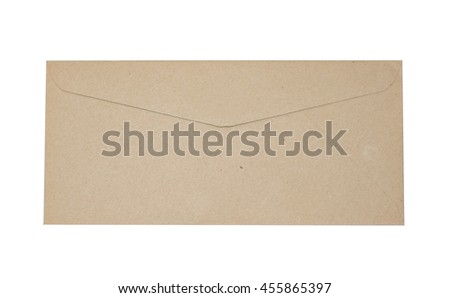 Brown rectangle envelope isolated on the back side.