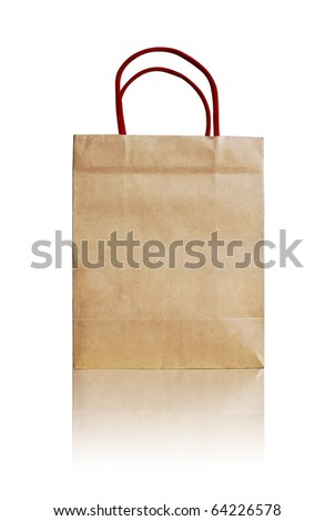 brown recycle paper shopping bag crumpled isolated on white background