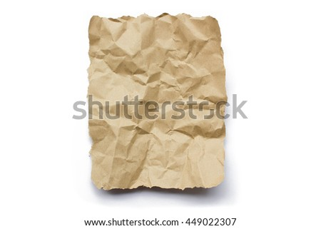 brown recycle wrinkle paper isolated on white background