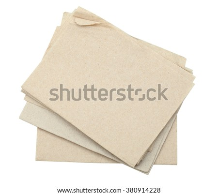 Brown Recycled Bar Napkin isolated on white background with clipping path - stock photo