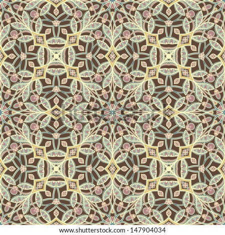 brown retro abstract floral pattern on a beige background