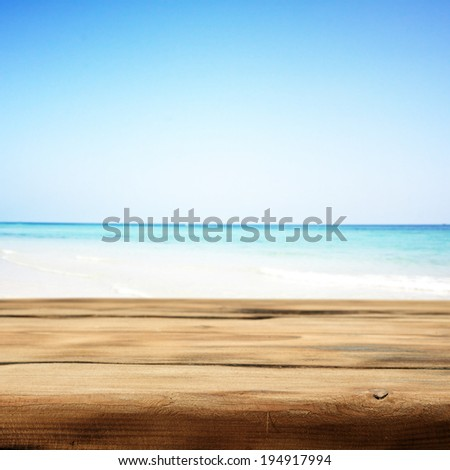 brown retro shabby table of wood and sky  - stock photo