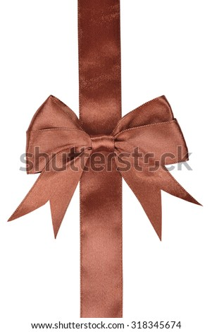 Brown ribbon with bow isolated on white background