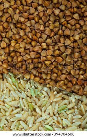 brown rice and buckwheat cereal close up - stock photo