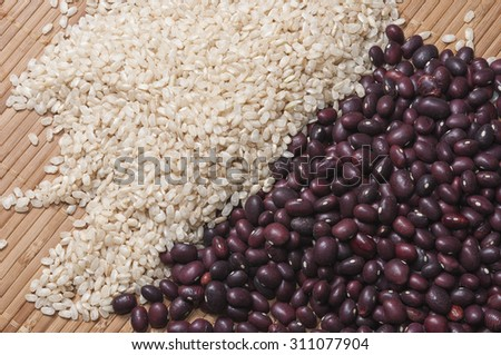 Brown rice and red beans - stock photo