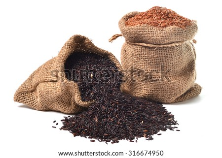 Brown rice in bag - stock photo