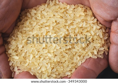 brown rice in old hand - stock photo