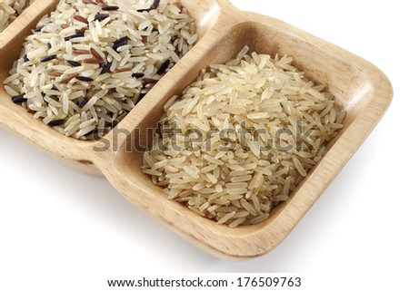 Brown rice in the spoon isolated on white background.