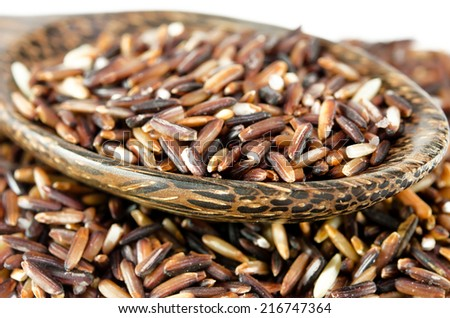Brown Rice isolated on the white background.