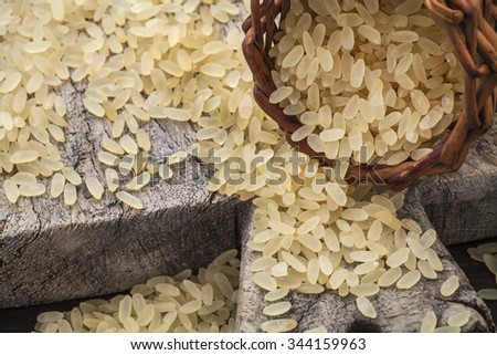 brown rice on cutting board