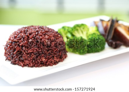 Brown Rice  with Braised pork - stock photo