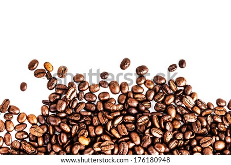 Brown roasted coffee beans isolated on white background.  Arabic roasting coffee  ingredient of hot beverage. Coffee beans frame.  - stock photo
