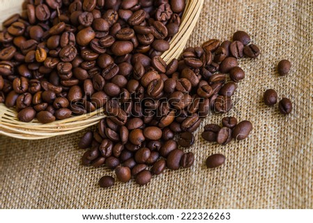 Brown roasted coffee beans Shallow depth of field