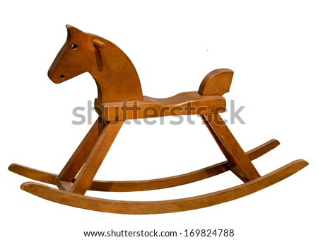 Brown rocking seesaw horse isolated on white background - stock photo