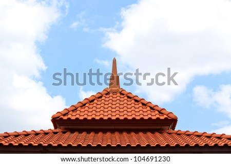 Brown Roof on blue sky, background - stock photo