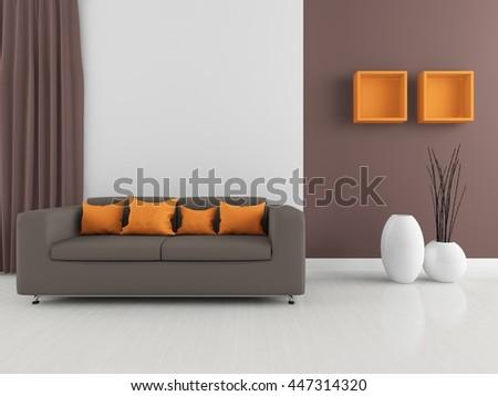 Brown room interior. Living room interior. Scandinavian interior. 3d illustration - stock photo
