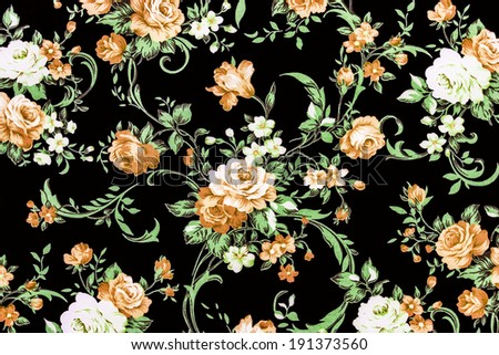 Brown Rose Fabric Background, Fragment of colorful retro tapestry textile pattern with floral ornament useful as background. - stock photo