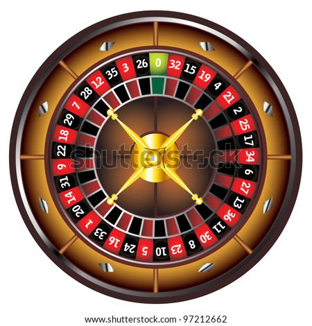 brown roulette wheel isolated over white background - stock photo