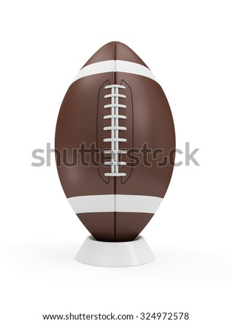 Brown Rugby Ball on stand isolated on white background. Sport and Recreation Concept - stock photo