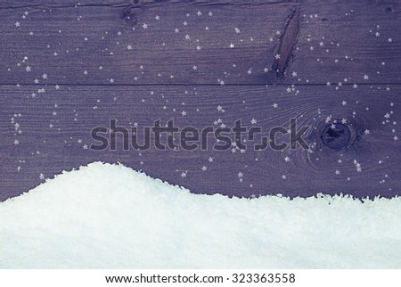 Brown, Rustic Wooden Background, Texture Or Backdrop With Snow. Copy Space For Advertisement Or Christmas Greetings. Christmas Card With Snowy Scenery And Snowflakes. Vintage Style - stock photo