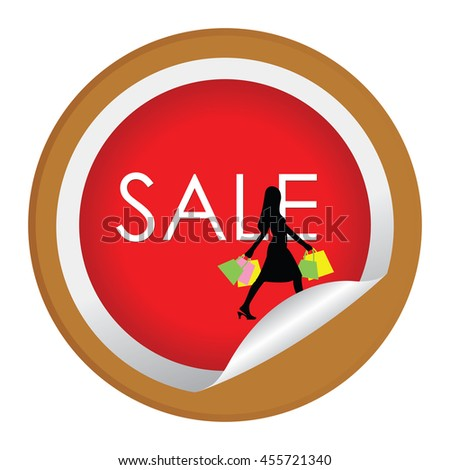 Brown Sale With Woman Holding Shopping Bag Infographics Icon on Circle Peeling Sticker Isolated on White Background  - stock photo