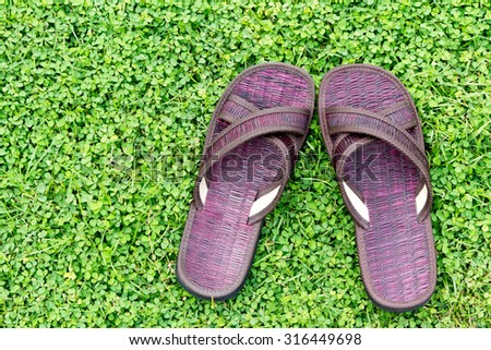 brown sandal on the green grass - stock photo