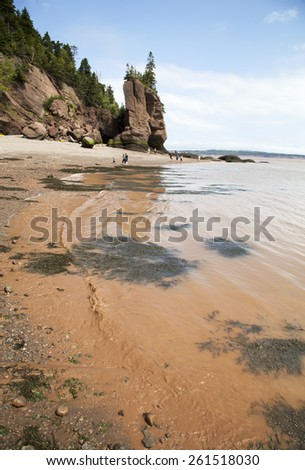 Brown sea water on a beach of Hopewell Rocks Ocean Tidal (New Brunswick, Canada). - stock photo