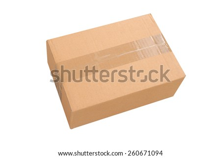 brown sealed box - stock photo