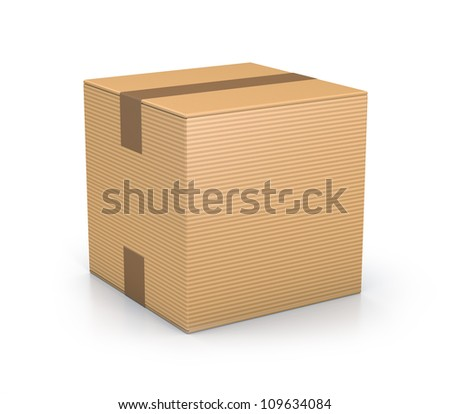 Brown sealed cube boxes. High resolution 3D illustration with clipping paths. - stock photo