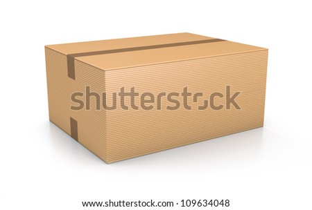 Brown sealed rectangle box. High resolution 3D illustration with clipping paths. - stock photo