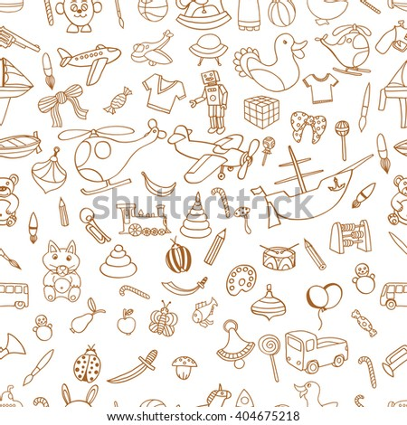 Brown Seamlesbackground of Funny baby toys set. art doodle collection of hand drawn icons for baby shower or scrapbook - stock photo