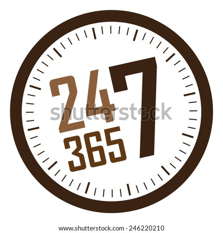 brown 24 7 365 service is available year-round sticker, badge, icon, stamp, label, banner, sign  isolated on white  - stock photo