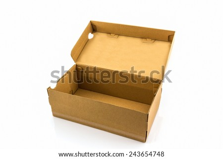 Brown shoe box on white background with clipping path. For shoes, electronic device and other products.  - stock photo