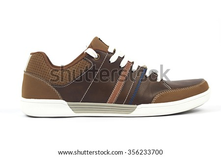 Brown shoe isolated on white background - stock photo