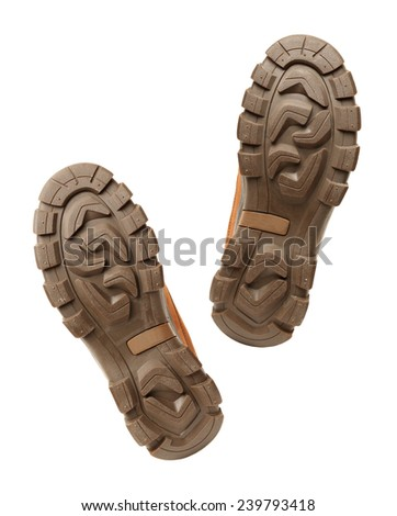 brown shoe sole on white background - stock photo