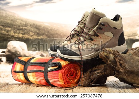 brown shoes and lake  - stock photo